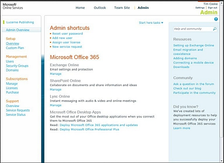 こちらのダッシュボードでは「Exchange Online」「SharePoint Online」「Lync Online」「Microsoft Office Desktop Apps」の設定ができる。