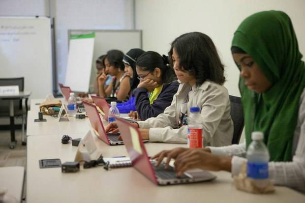 During the Summer Immersion Program, Girls Who Code participants coded and presented their games to Microsoft.
