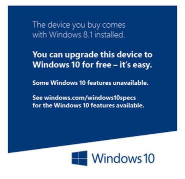 Windows 10のテストが積極的に実施された端末に貼られる予定のステッカー