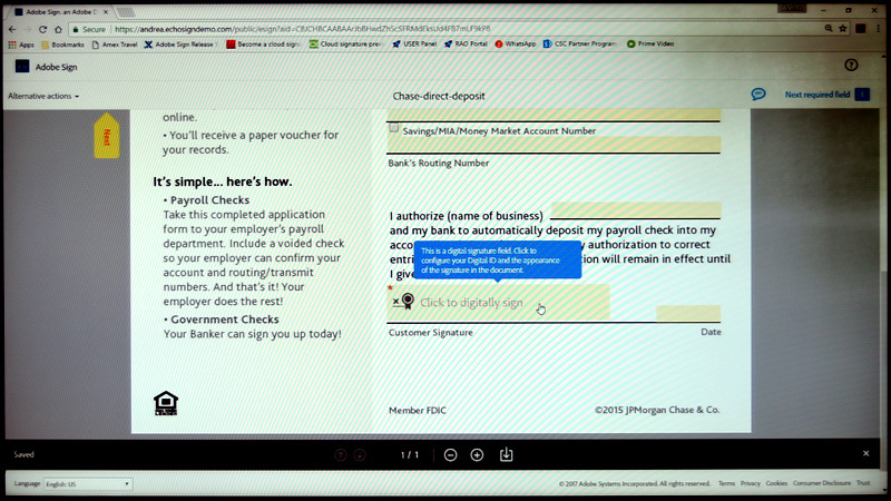 Adobe Signで文章に電子署名を施している画面