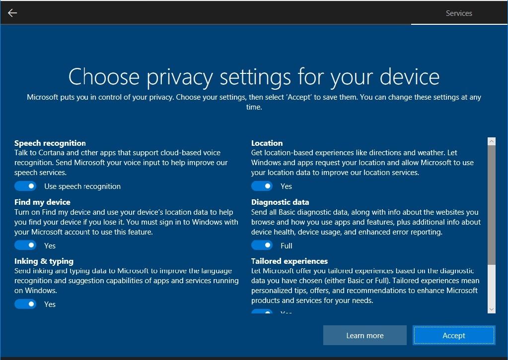 ms windows 10 最新プレビュービルドで新たなプライバシー設定を