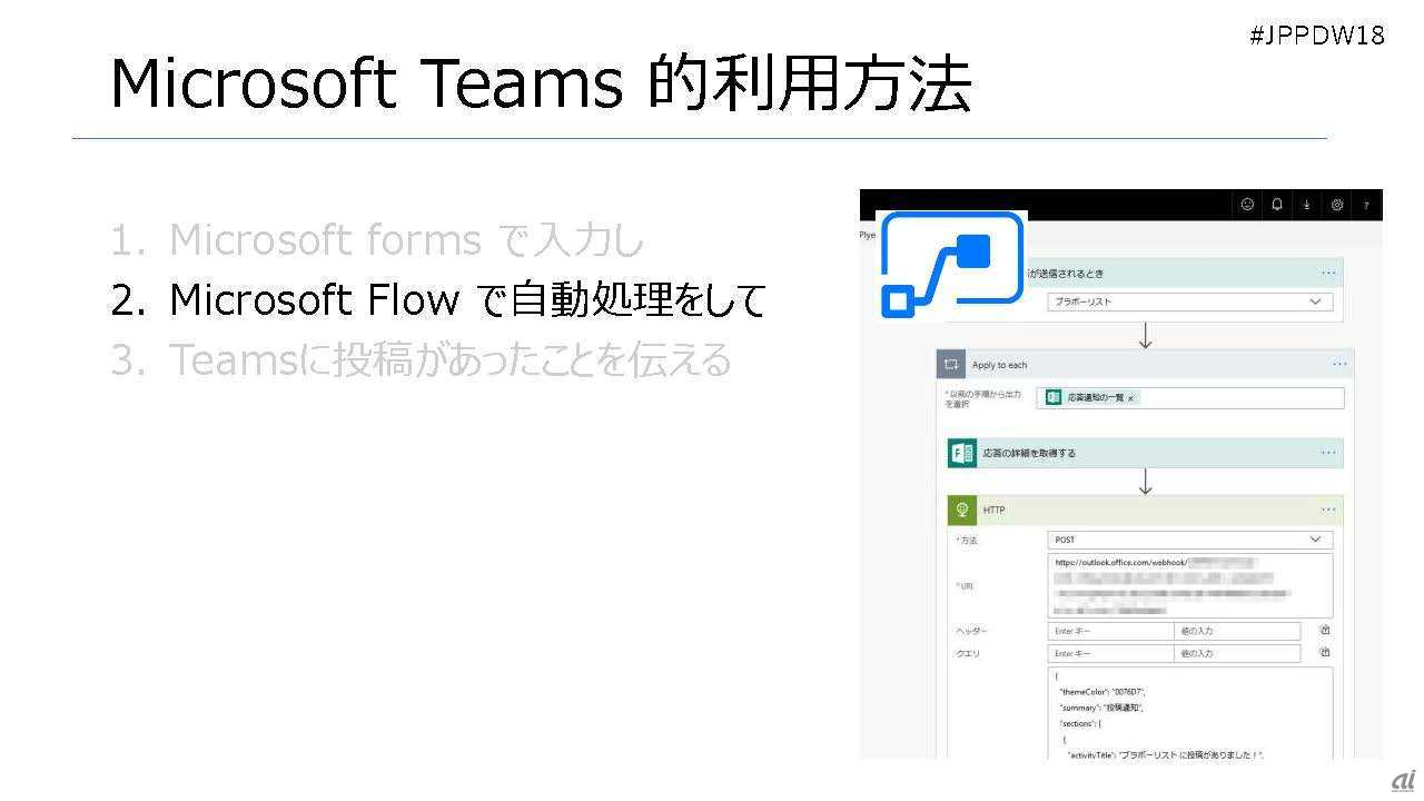 FormsからFlowを開始、Teamsにアウトプット