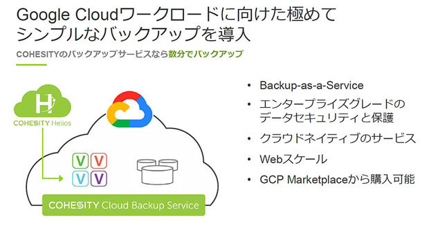 「Cohesity Cloud Backup Service for Google Cloud」の概要(出典:Cohesity)