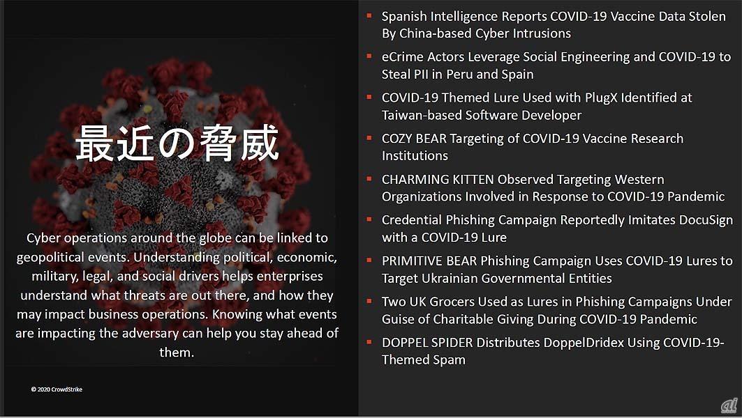 COVID-19の世界的流行を踏まえた脅威の検出例。