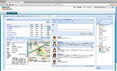 「mashmatrix Dashboard for Salesforce」で動作する「mashmatrix Widget for Salesforce Chatter」