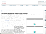 Cisco Makes Recommended Offer to Acquire TANDBERG -> Cisco News
