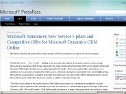 Microsoft Announces New Service Update and Competitive Offer for Microsoft Dynamics CRM Online: