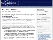 451 CAOS Theory ? 451 Group survey highlights user concerns over Oracle's proposed ownership of MySQL