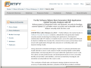 Fortify Software Debuts Next-Generation Web Application Hybrid Security Analysis with HP